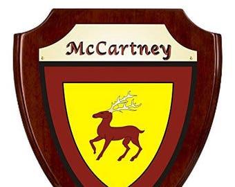 McCartney Irish Coat of Arms Shield Plaque - Rosewood Finish
