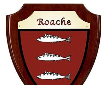 Roache Irish Coat of Arms Shield Plaque - Rosewood Finish