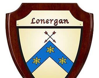 Lonergan Irish Coat of Arms Shield Plaque - Rosewood Finish