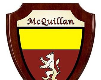 McQuillan Irish Coat of Arms Shield Plaque - Rosewood Finish