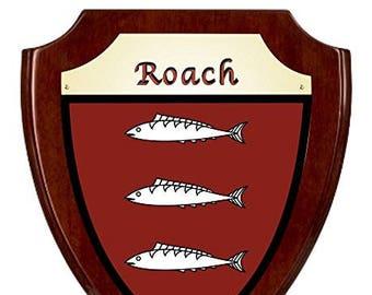 Roach Irish Coat of Arms Shield Plaque - Rosewood Finish