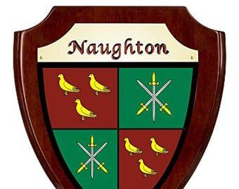 Naughton Irish Coat of Arms Shield Plaque - Rosewood Finish