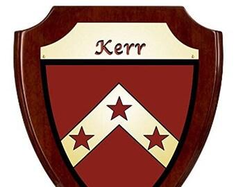 Kerr Irish Coat of Arms Shield Plaque - Rosewood Finish