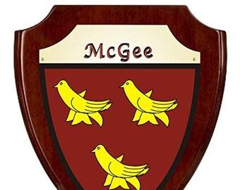 McGee Irish Coat of Arms Shield Plaque - Rosewood Finish