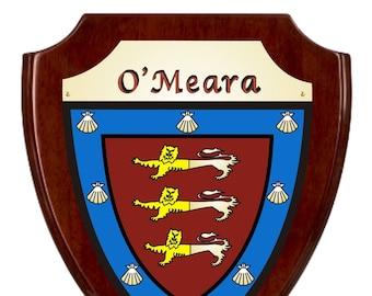 O'Meara Irish Coat of Arms Shield Plaque - Rosewood Finish