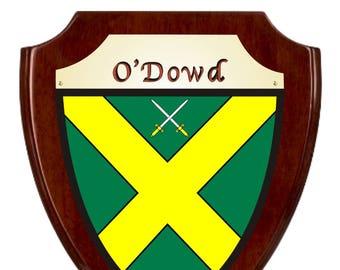 O'Dowd Irish Coat of Arms Shield Plaque - Rosewood Finish