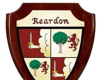 Reardon Irish Coat of Arms Shield Plaque - Rosewood Finish