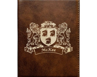 McKee Irish Coat of Arms Luggage Tag set of 2 Rustic Leather