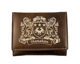 Shanahan Irish Coat of Arms Leather Passport Wallet