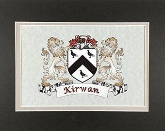 """Kirwan Irish Coat of Arms Print - Frameable 9"""" x 12"""""""