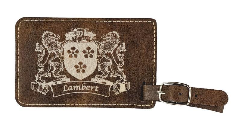 Rustic Leather set of 2 Lambert Irish Coat of Arms Luggage Tag