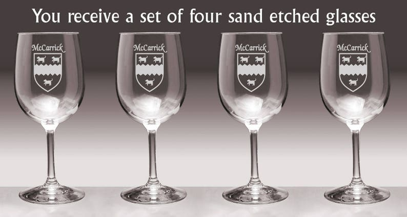 McCarrick Irish Coat of Arms Wine Glasses Sand Etched Set of 4