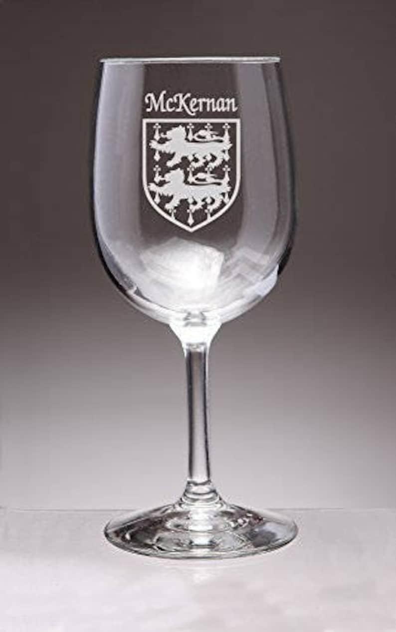 Sand Etched McKernan Irish Coat of Arms Wine Glasses Set of 4