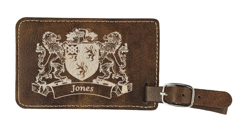 Jones Irish Coat of Arms Luggage Tag Rustic Leather set of 2