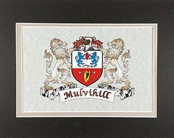 "Mulvihill Irish Coat of Arms Print - Frameable 9"" x 12"""