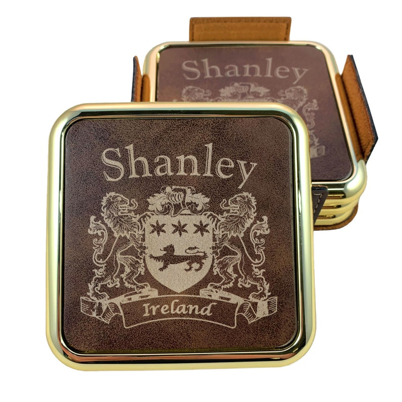 Set of 4 Shanley Irish Coat of Arms Rustic Brown Coasters