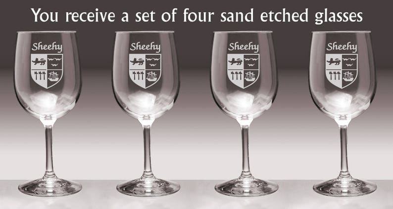 Set of 4 Sheehy Irish Coat of Arms Wine Glasses Sand Etched