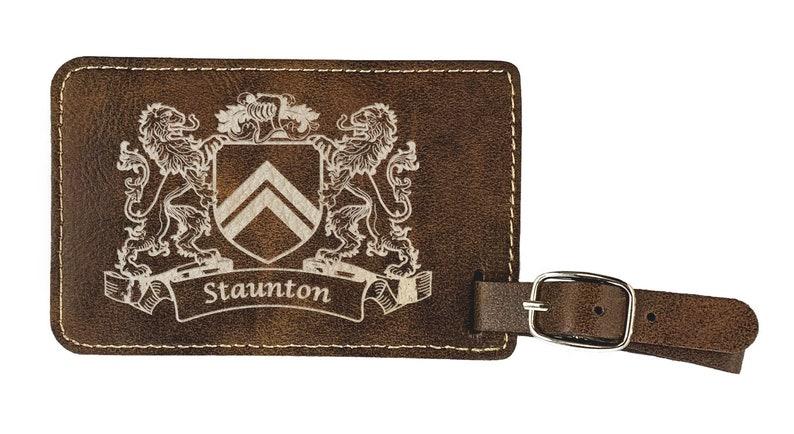 Rustic Leather Staunton Irish Coat of Arms Luggage Tag set of 2