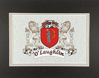 "O'Laughlin Irish Coat of Arms Print - Frameable 9"" x 12"""