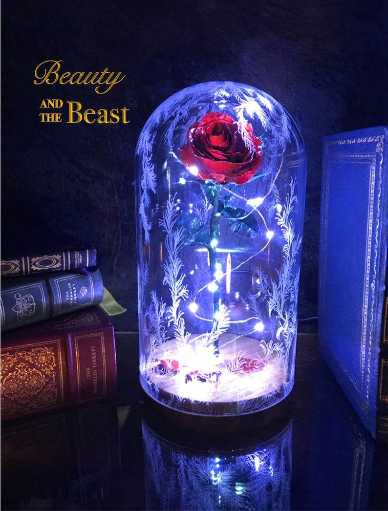 Beauty And The Beast Rose Dome Preserved Rose Metal Rose Etsy