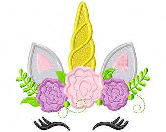 Floral Unicorn - applique design - machine embroidery - instant download - magical unicorn - fictional unicorn  - applique unicorn