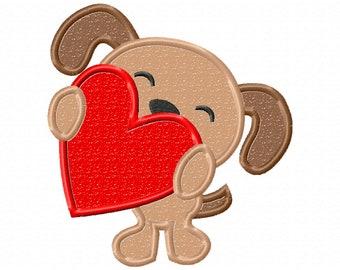 puppy dog applique - valentine's Day - applique design - machine embroidery - puppy monogram - applique dog - my 1st valentine day