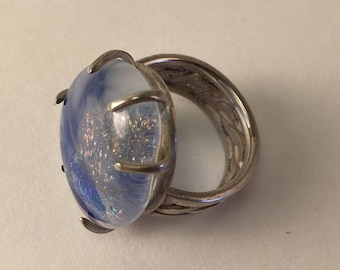 Sterling Silver and Handmade Glass Size 7 Ring