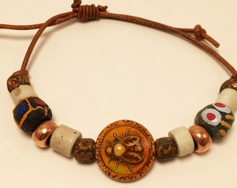 Beads on Leather Adjustable Bracelet #2