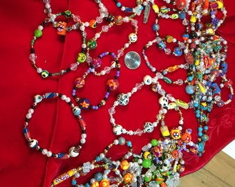 Unique Quality Stretch Bracelets with Handmade Focal Beads