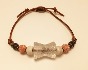 Beads on Leather Adjustable Bracelet #1