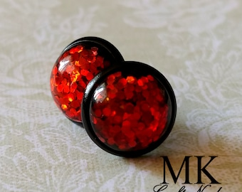 Red Orange Glitter Post Earrings