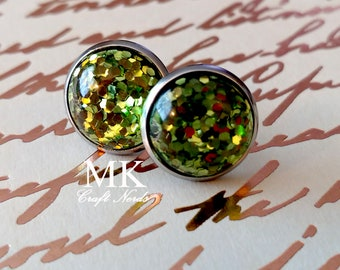 Green Glitter Post Earrings