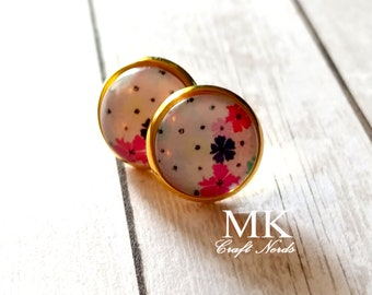 Flowers and Polka Dots Post Earrings