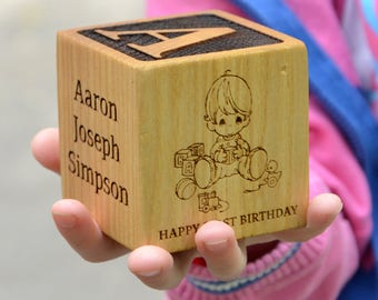 Personalized Babys First Birthday Gift Block 1st Alphabet Nursery Decor Engraved Girls Or Boys