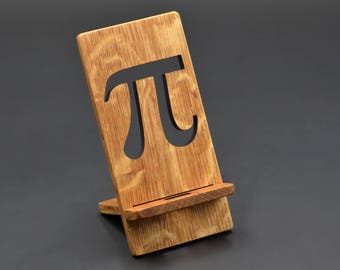 Pi number wooden iphone/Android Charging Stand, Phone Stand, Cell Charging Station 3.14 School Gift Laser Engraved gift to the teacher Phone