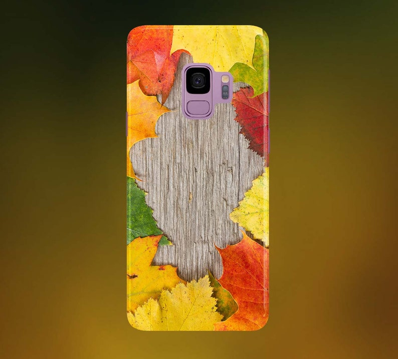 Autumnal Leaves on Wood Phone Case for apple iphone samsung image 0