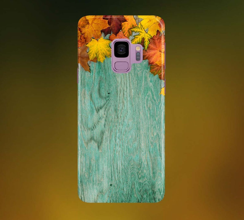 Autumn Leaves on Cyan Wood Phone Case for apple iphone image 0