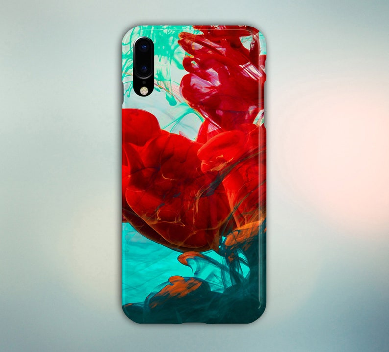 Mint Green Red Ink Drop Phone Case for iPhone Galaxy Note & image 0