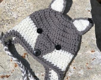 Baby Unisex Woodland Critter Crochet Wolf Earflap Hat Baby Shower 6b7182f8bec