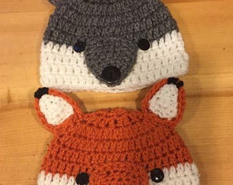 Newborn Twin Fox   Wolf Woodland Critters Crochet Photo Prop Hat Set f65a91a768b