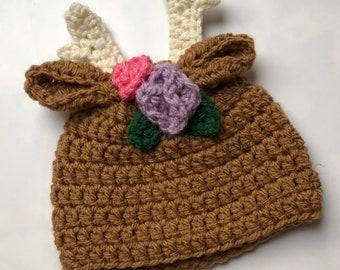 3cf05568bd4 Baby Girls Christmas Reindeer Beanie Hat