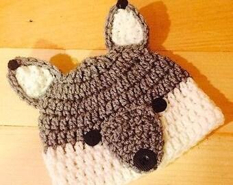 Baby Unisex Woodland Wolf Beanie Style Crochet Hat Photo Prop d2fa818cd69