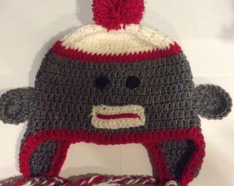 Adult Gray Sock Monkey Earflap Hat