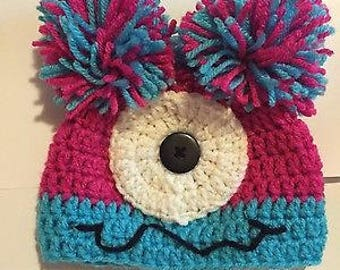 Baby Girls Pink/Turquoise Silly Monster Hat