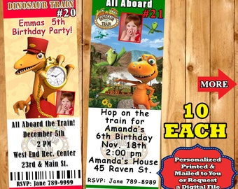 Printed Dinosaur Train Birthday Invitation 10 Each With Envelopes Personalized Custom Made