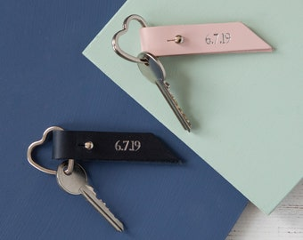 Special Date Leather Heart Keyrings - Set of Two