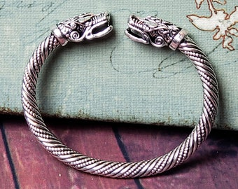 2f9cb496f41c0 Fenrir Viking Wolves Stainless Steel Silver Sacred Arm Ring Bracelet *  His/Hers Pagan Old Norse Amulet Replica Bangle Wolf Vikings Jewelry