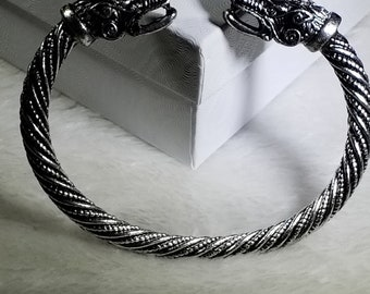 4ff9668231b2a Silver Viking Fenrir Stainless Steel Wolves Sacred Arm Ring Cuff Bracelet *  Nordic Pagan Jewelry Ragnar Lothbrok His or Hers Ancient Replica