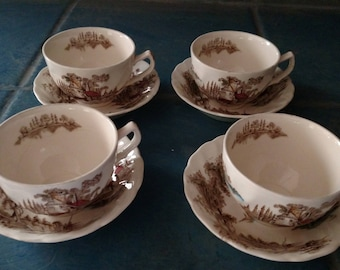 Johnson Bros The Old Mill Cups And Saucers Set Of Four