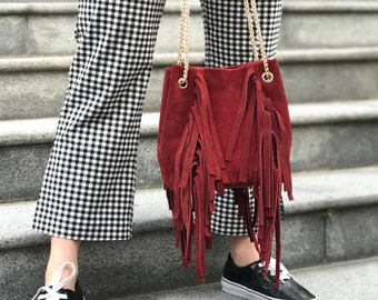 Genuine Leather Bag, Red Suede Bucket Bag, Suede Shoulder Bag, Suede Crossbody Bag, Bag with fringe, Gift for her, Free Shipping